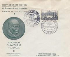 LETTRE COVER. FRANCE. 19 5 56. CONGRES PHILATELIQUE ANGERS - Stamps