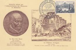 POSTCARD. FRANCE. 19 5 56. CONGRES PHILATELIQUE ANGERS - Stamps
