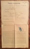 POLONIA  DOWÓD DORĘCZENIA ANTICO DOCUMENTO DEL 1903 CON MARCA DA BOLLO 34 H - Documenti Storici