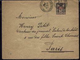 FR - 1890 - Bureaux Français - Type Sage 1 Piastre Sur 25 Ct De Constantinople Galata Pour Paris - B/TB - - Marcophilie (Lettres)