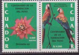ECUADOR 1999 ECUADOR 1999 CENTENARY OF PUYO FOUNDATION MACAW BROMELIA PAIR BIRD FLOWERS - Uccelli
