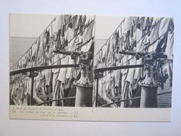 Carte Stéréoscopique  A Bord Des Navires De Guerre Le Séchage Du Linge Sur Les Cartahus - Stereoscope Cards