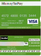 TARJETA REGALO DE ESPAÑA, GIFT CARD. 30 EUROS, MONEY TO PAY, VISA. 078. - Tarjetas De Regalo