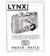 """Pub.1946  LYNX  Appareils Phoro  Photo-Raylu  Pontiac Paris """" Le Plus Précis Des Appareils 3x4 """" TBE - Publicités"""