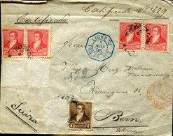 41550 Argentina,cover Registered 1895 To Switzerland, Paquebot No.2 Ligne J. (see 2 Scan) Faltan Algunos Sellos ! - Argentina