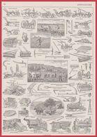 Agriculture : Charrue, Moissonneuse, Batteuse, Locomotive, Illustration Maurice Dessertenne, Larousse 1948 - Vieux Papiers