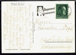 """ALLEMAGNE - 1938 - Timbre N° 613 Sur Carte Postale """"Portrait D'Adolf Hitler"""" Correspondance De Munchen Vers Oberkirchen. - Lettres & Documents"""