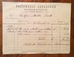 ANTICHI MESTIERI LUCCA 1897 VIA S.PAOLINO FERDINANDO CERASOMMA  STAGNAIO E POMPAIO FATTURA D'EPOCA - Italia