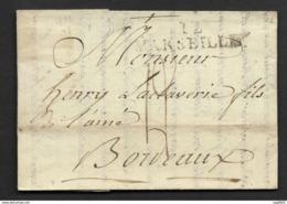 Bches Du Rhone-Lettre-Marque Linéaire 12 MARSEILLE (43.5*11)-Pour Bordeaux - Marcophilie (Lettres)