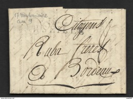 Bches Du Rhone-Lettre-Marque Linéaire 12 MARSEILLE -Pour Bordeaux - 1701-1800: Précurseurs XVIII