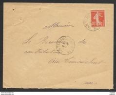Enveloppe Avec Cachet Convoyeur Ain Temouchen à Oran Sur Semeuse - Marcophilie (Lettres)
