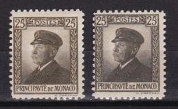 Monaco N°54* + 54a* (variété Brun-olive) - Monaco