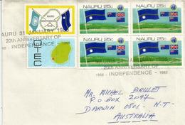 Lettre De L'ile Nauru Adressée  En Australie (oblit. Commemorative 20 Ieme Anniv.Independance) - Nauru