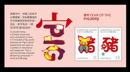 Christmas Island 2019 Mih. 900/01 (Bl.55) Lunar New Year. Year Of The Pig MNH ** - Christmas Island