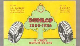 Buvard DUNLOP 1888-1938 Il Croît Depuis 50 Ans - Automotive
