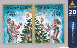Denmark, JS 018 B , Christmas Card From 1993, Only 11.000 Issued, 2 Scans. - Denmark