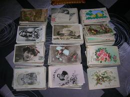 Lot 1000 Cartes Postales Fantaisie Format 9x14 Enfant Femme Paysage Animaux Couple Fleurs Tableaux Voeux Decoupis Etc - Cartes Postales