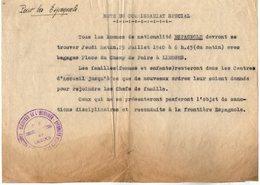 VP14.262 - MILITARIA - 1940 - Guerre 39 / 45 - Note Du Commissariat Spéciale De LIMOGES Pour Les Espagnols - Police & Gendarmerie