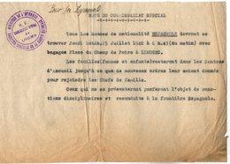 VP14.263 - MILITARIA - 1940 - Guerre 39 / 45 - Note Du Commissariat Spéciale De LIMOGES Pour Les Espagnols - Polizei