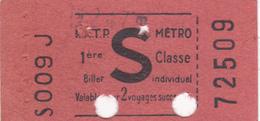 A-19-275 B : TICKET DE METRO RATP 1° CLASSE PUBLICITE LAMES DE RASOIR LUCKY - Titres De Transport