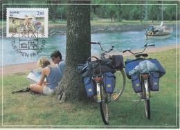 TOURISM TOURISM TOURISMUS TOURISME WATER HOLIDAYS ALAND FINLSND 1991 - MAXIMUM CARD MI 52 BICYCLE KVÉLO FAHRRAD - Holidays & Tourism