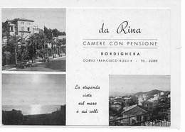 "CARD BORDIGHERA  PUBBLICITA' DA ""RINA"" CAMERE CON PENSIONE VEDUTINE   (IMPERIA)-FG-N-2-0882-28536 - Imperia"