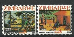ZIMBABWE 2005 HIV, ANTI-AIDS CAMPAIGN SET MNH - Zimbabwe (1980-...)