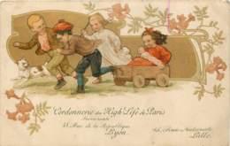 Publicité De La Cordonnerie Du High Life De Paris - Succursales à Lyon Et Lille - Belle Carte D'enfants Jouant 1908 - Publicité