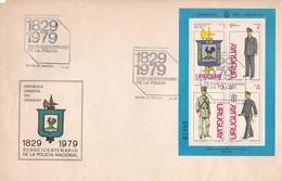 SESQUINCENTENARIO DE LA POLICIA. FDC 1979 CORREOS DEL URUGUAY. STAMP BLOCK. GRAND FORMAT - BLEUP - Police - Gendarmerie