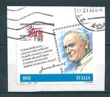 1998 ESPOSIZIONE FILATELIA PAPA 800 Lire USATO - 6. 1946-.. Repubblica