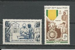 INDE FRANCAISE Scott B15, 233 Yvert 254, 258 (2) * Cote 8,75 $ 1950-54 - India (1892-1954)