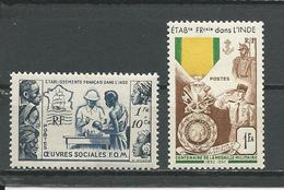INDE FRANCAISE Scott B15, 233 Yvert 254, 258 (2) * Cote 8,75 $ 1950-54 - Neufs