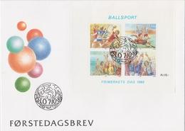 BALLSPORTS HANDBALL FOOTBALL BASKETBALL VOLLEYBALL  - NORWAY NORWEGEN 1988 MI 1003 - 1006  FDC - Handball