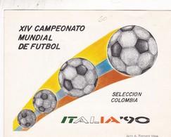 XIV CAMPEONATO MUNDIAL DE FUTBOL, SELECCION COLOMBIA. ITALIA'90-FDC 1990 BOGOTA,COLOMBIA, BLOCK STAMPS, CARD - BLEUP - World Cup
