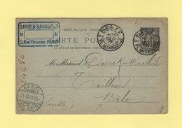 Paris - 1F Pl. De La Bourse F - 1898 - Type Sage - Entier Postal Destination Suisse - Marcophilie (Lettres)