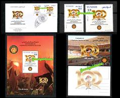 2019- Tunisie- Centenaire De L'Espérance Sportive De Tunis- Football- Bloc Perforé+ Carte Postale+ FDC+Set 2v.MNH** - Unused Stamps