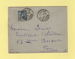 Paris - 2 R. Milton - 1893 - Sans Indication De Mois - Type Sage - Marcophilie (Lettres)