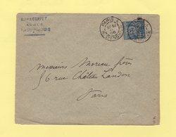 Paris 4 - R. D'Enghien - 1888 - Type Sage - Marcophilie (Lettres)