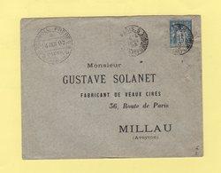 Paris 5 - Av De La République - 1893 - Type Sage - Marcophilie (Lettres)