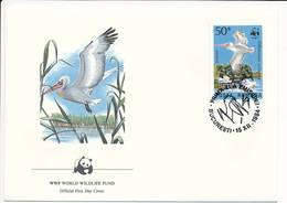 Mi 4104 FDC / WWF World Wildlife Fund / Birds Dalmatian Pelican Pelecanus Crispus - 15 December 1984 - 1948-.... Republics