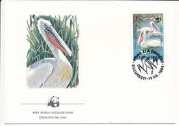 Mi 4105 FDC / WWF World Wildlife Fund / Birds Dalmatian Pelican Pelecanus Crispus - 15 December 1984 - 1948-.... Republics