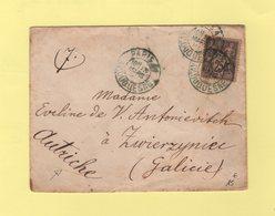 Paris 41 - Av. Duquesne (en Bleu) - 1897 - Type Sage - Destination Autriche - Marcophilie (Lettres)