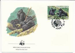 Mi 1293 FDC / WWF World Wildlife Fund / Mountain Gorilla Gorilla Gorilla Beringei Monkey Ape - 25 March 1985 - Rwanda