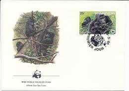 Mi 1294 FDC / WWF World Wildlife Fund / Mountain Gorilla Gorilla Gorilla Beringei Monkey Ape - 25 March 1985 - Rwanda
