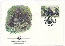 Mi 1295 FDC / WWF World Wildlife Fund / Mountain Gorilla Gorilla Gorilla Beringei Monkey Ape - 25 March 1985 - Rwanda
