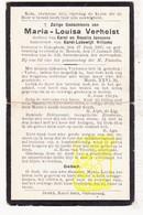 DP Maria L. Verhelst / Janssens ° Bekegem Ichtegem 1860 † Roksem Oudenburg 1931 X Karel L. Willems - Devotion Images