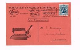 """""""Fabrication D'appareils électroniques Kalorik,Bruxelles"""". Expédié à ERquelinnes. - 1929-1937 Heraldic Lion"""