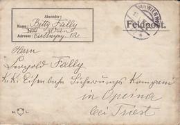 Feldpostbrief - Wien Nach K.k. Eisenbahn Sicherungs Kompanie Opcina Bei Tries - 1917 (38768) - 1850-1918 Imperium