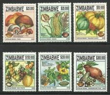 ZIMBABWE 2006 AFRICAN DISHES,FRUITS,VEGETABLES,MUSHROOMS SET MNH - Zimbabwe (1980-...)