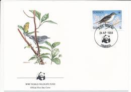Mi 836 FDC / WWF World Wildlife Fund / Birds Plumbeous Warbler Catharopeza Plumbea - 24 April 1984 - Dominique (1978-...)